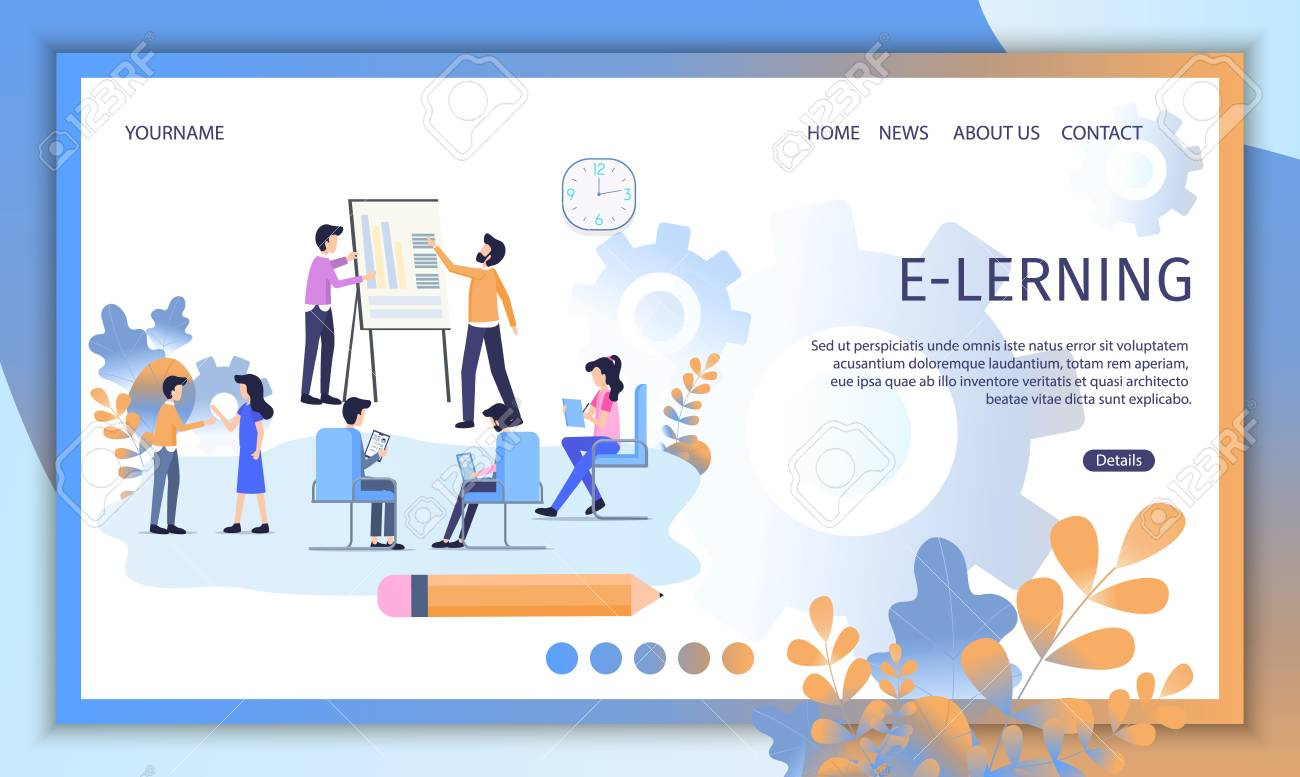 E Learning Courses Distant Education Service Flat Vector Web Royalty Free Cliparts Vectors And Stock Illustration Image 124904835