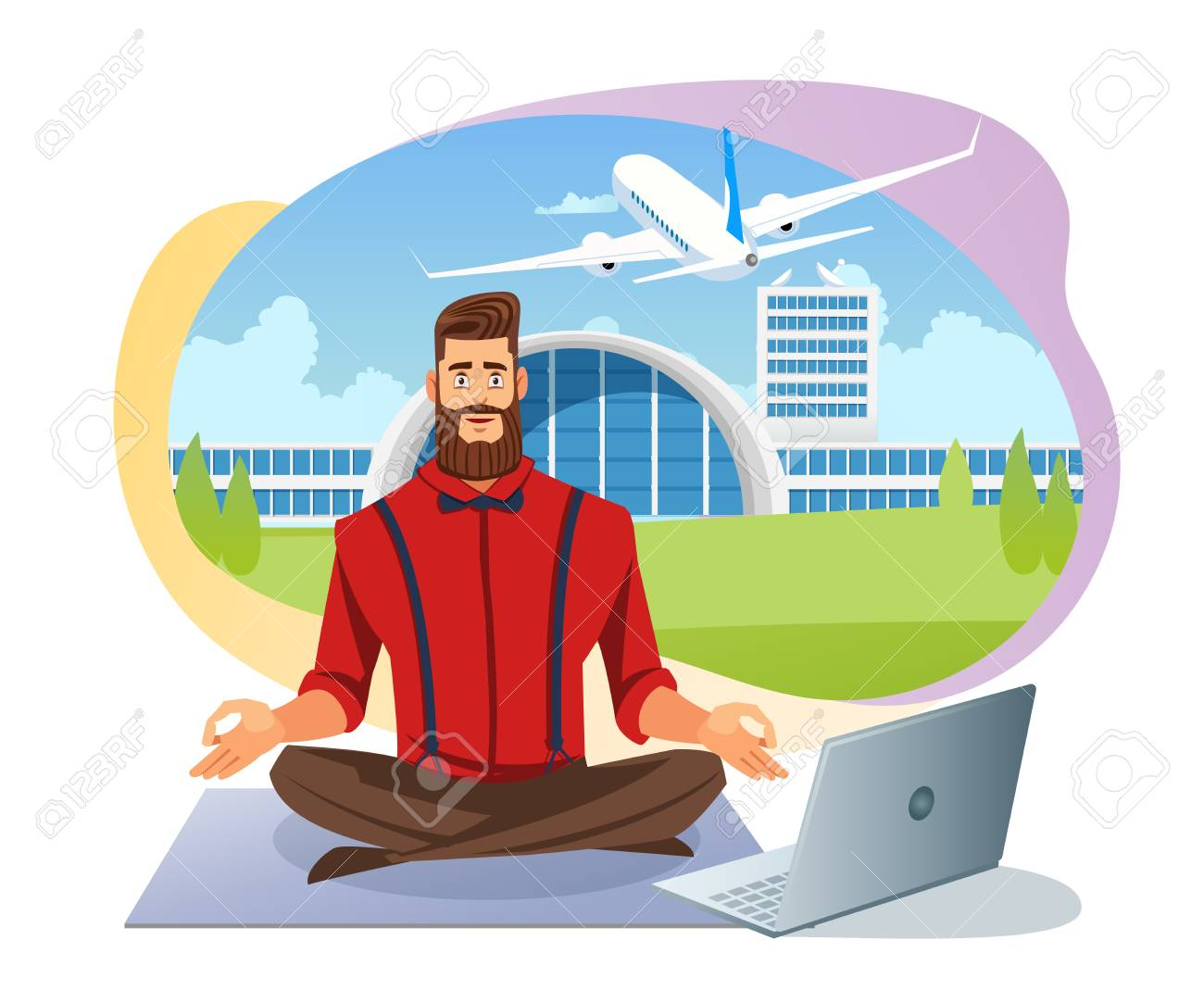 Easy Airline Tickets Booking Flat Vector Concept with Calm Man