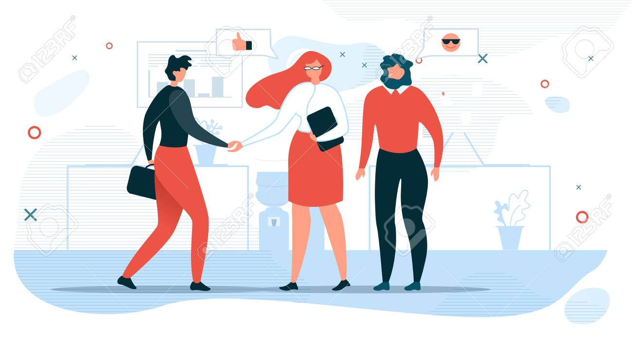 Business People Communication Flat Vector Concept with Businesswoman Shaking Hand to Partner, Company Hiring Manager Welcoming New Employee Illustration. Business Meeting for Negotiations in Office - 124790143