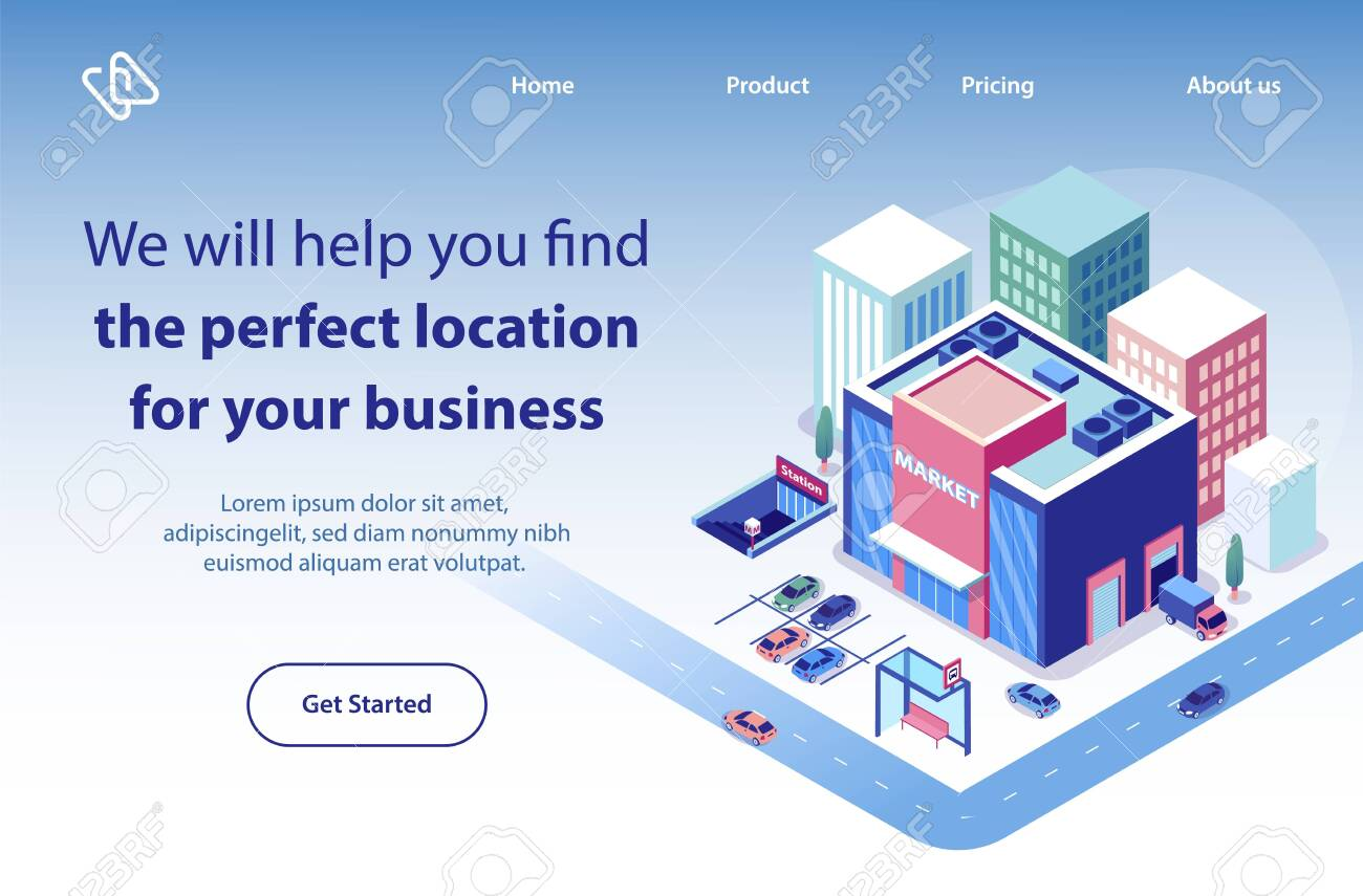 Commercial Real Estate Company Isometric Vector Web Banner Landing Royalty Free Cliparts Vectors And Stock Illustration Image 124241802