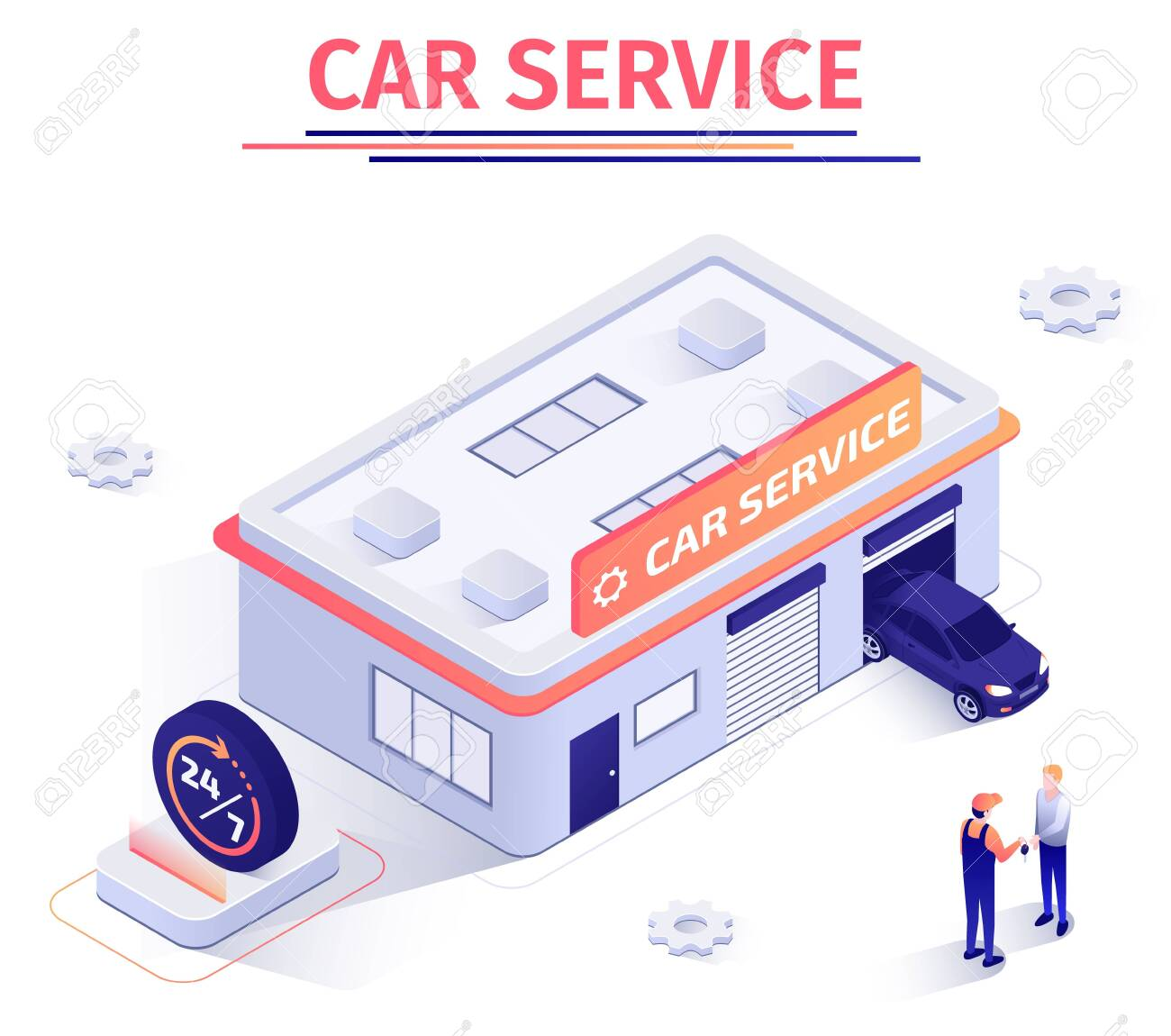 Promotion Banner Offers Round-the-Clock Car Repair Service  Building
