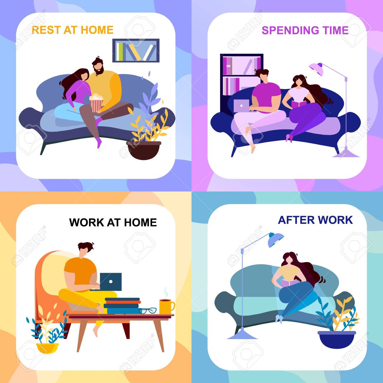 After Work Rest At Home Spending Time Banner Set Cartoon People Royalty Free Cliparts Vectors And Stock Illustration Image 123492402
