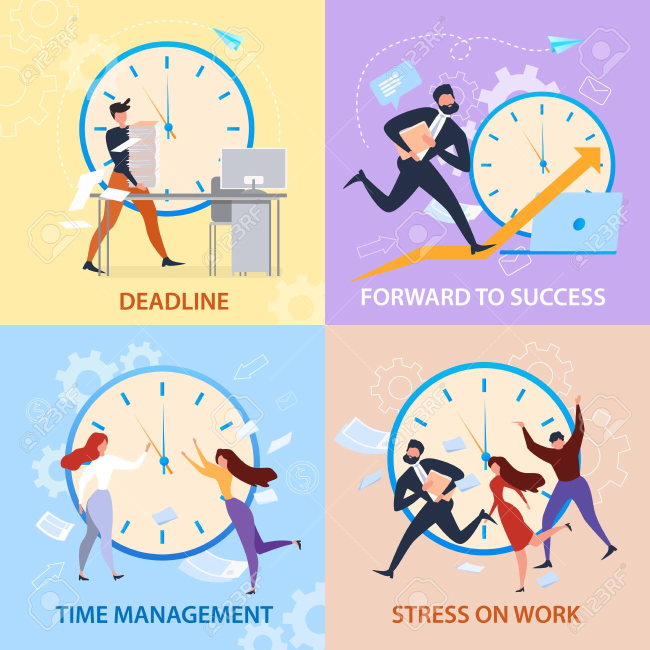 Forward to Sucess, Time Management, Stress on Work, Deadline Banner Set. Cartoon People Run. Work Problem, Schedule Organization. Winner Strategy, Career Promotion. Overtime Paperwork Vector - 123529121