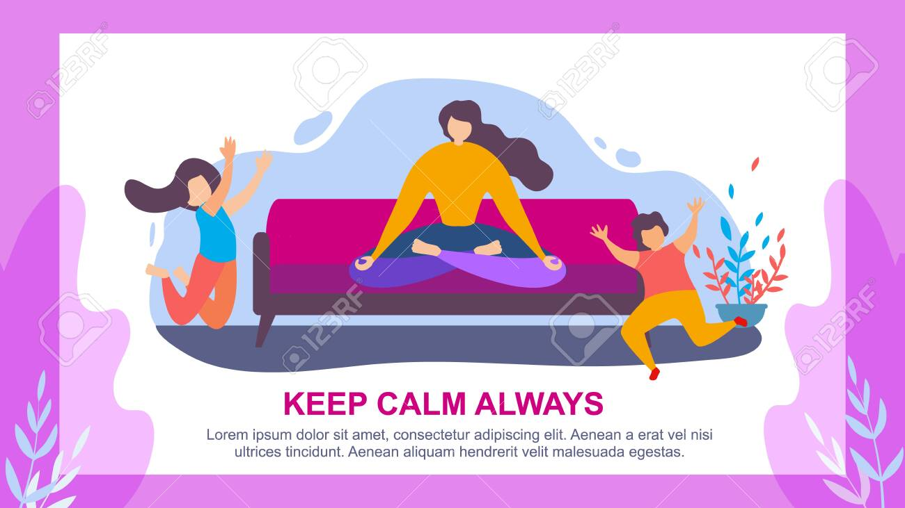 Cartoon Woman Meditate on Sofa, Children Jump  Keep Calm Always