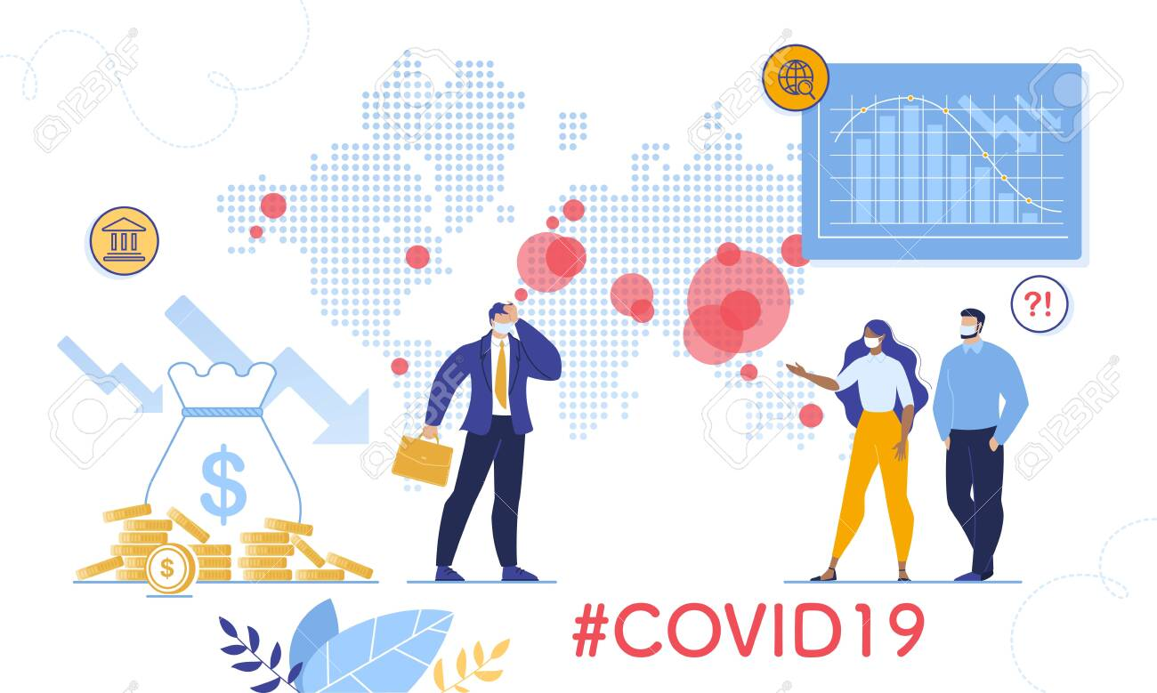 Coronavirus Outbreak World Viral Shedding and Global Economy Crisis, Financial Crash. Stock Market Chart Fall and Upset Businessman, People in Facial Mask. Negative Covid19 Impact on Investment Price - 142775421