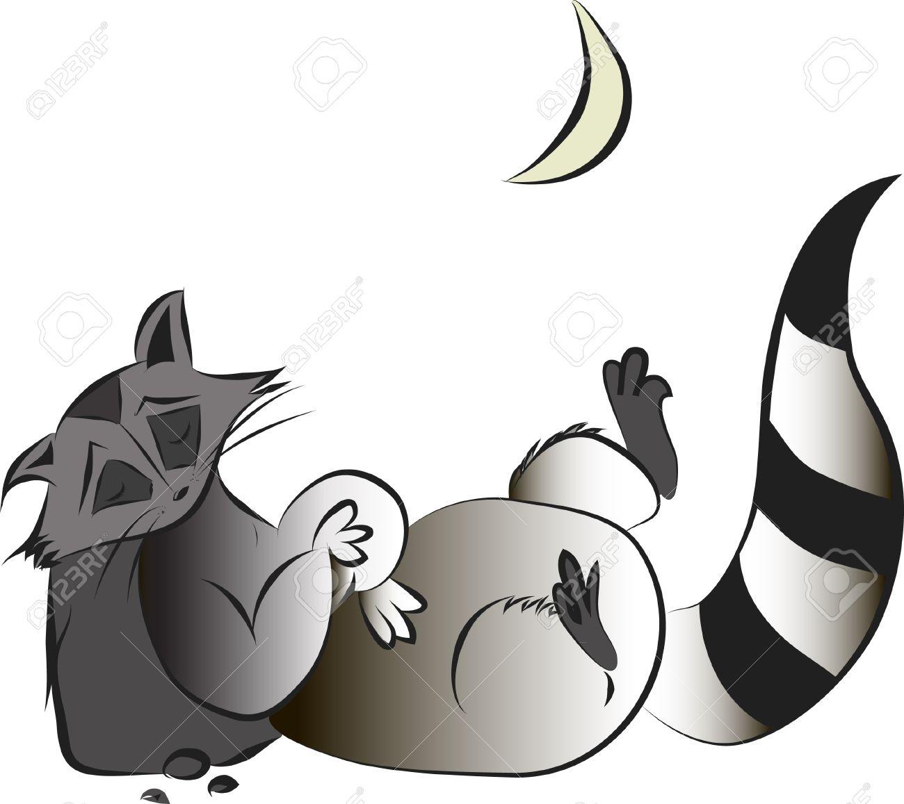 かわいい面白い眠っている漫画アライグマのイラスト ロイヤリティフリー