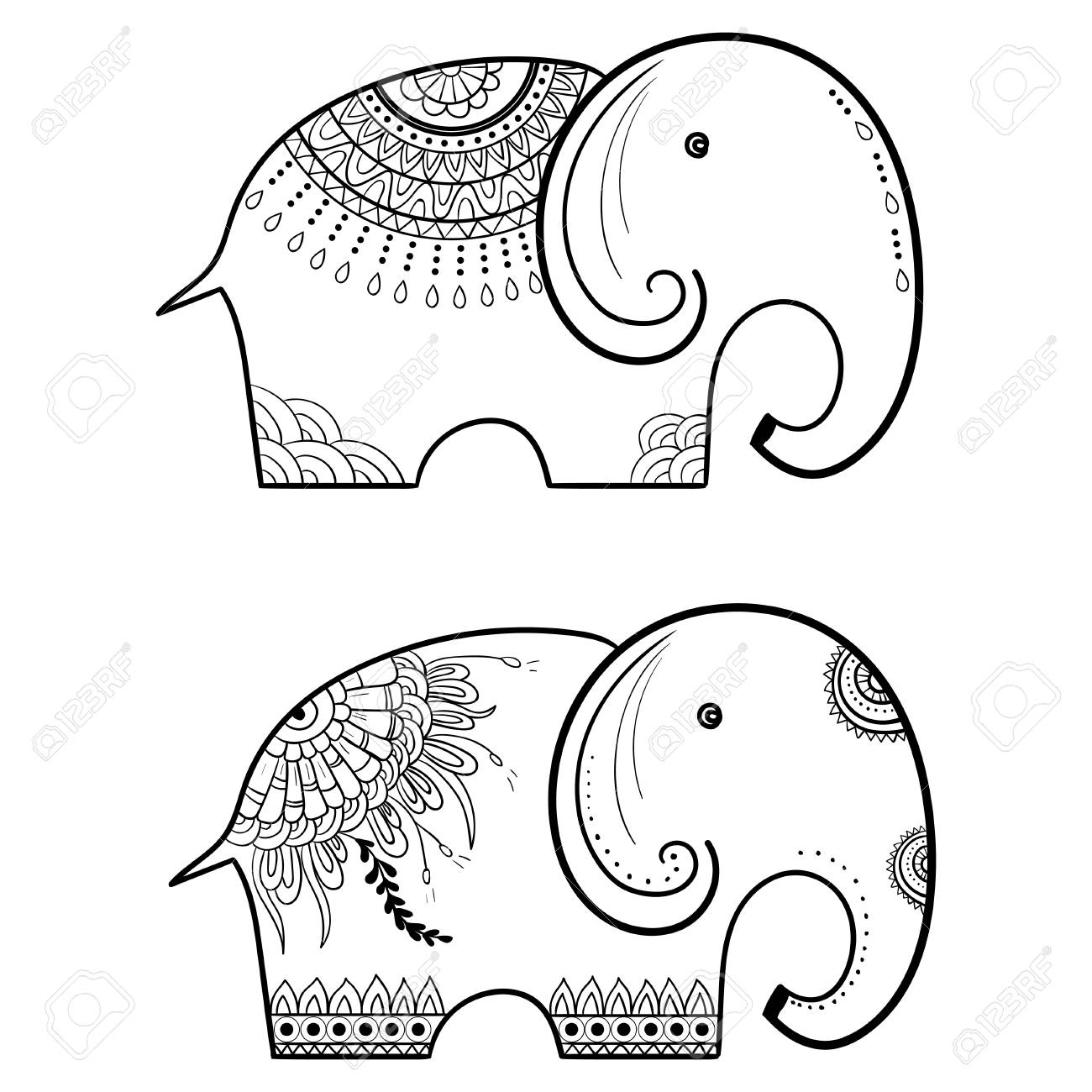 Indian Elephant. Frame Of Animal Made In Vector. Perfect Cards ...
