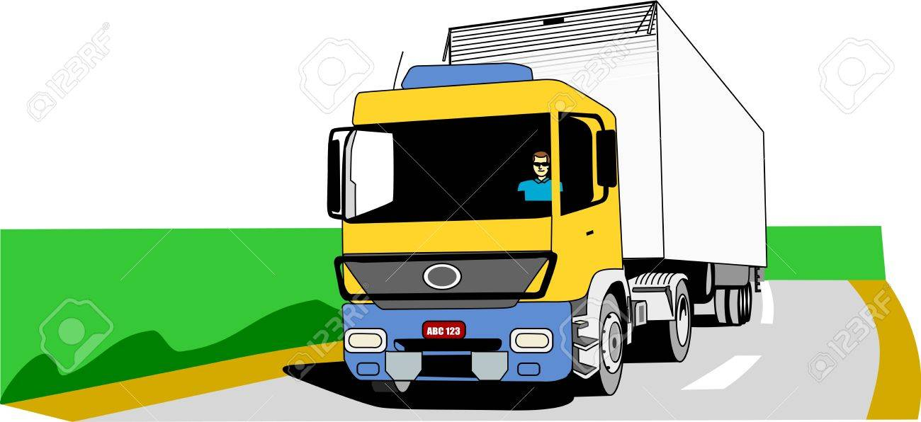 Yellow, blue and white cargo truck moves on an empty road Stock Vector - 15899395