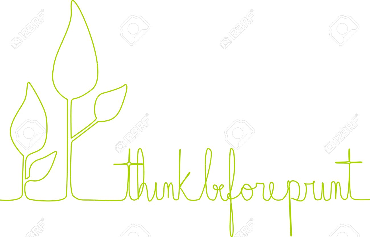 A line depicts leaves of a small plant and the sentence 'think before print' to allure to people who print documents etc. Stock Vector - 19479811