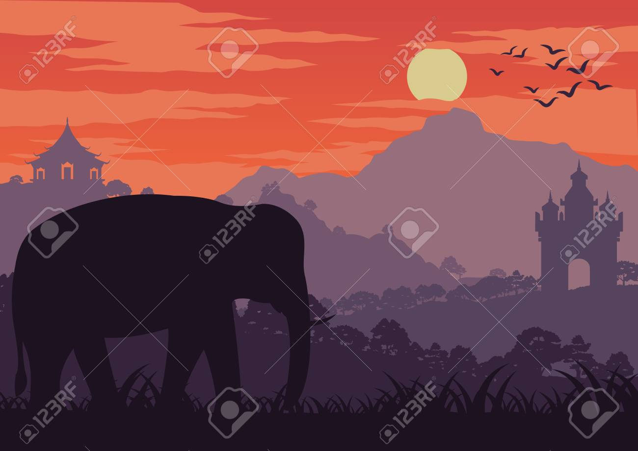 In The Morning Life An Elephant Symbol Of Thailand And Laos