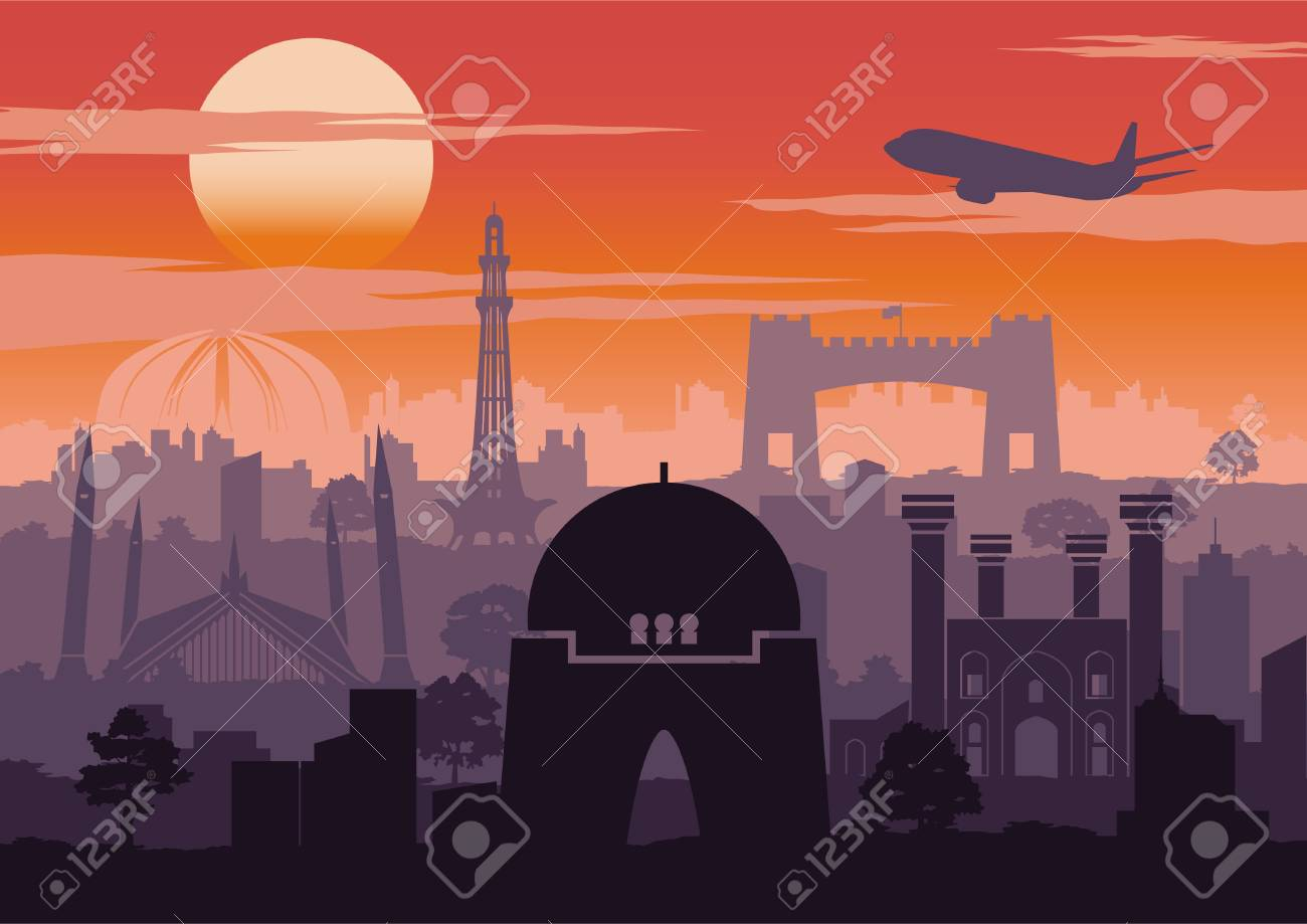 Pakistan famous landmark silhouette style with row design on sunset time,vintage color,vector illustration - 117187999