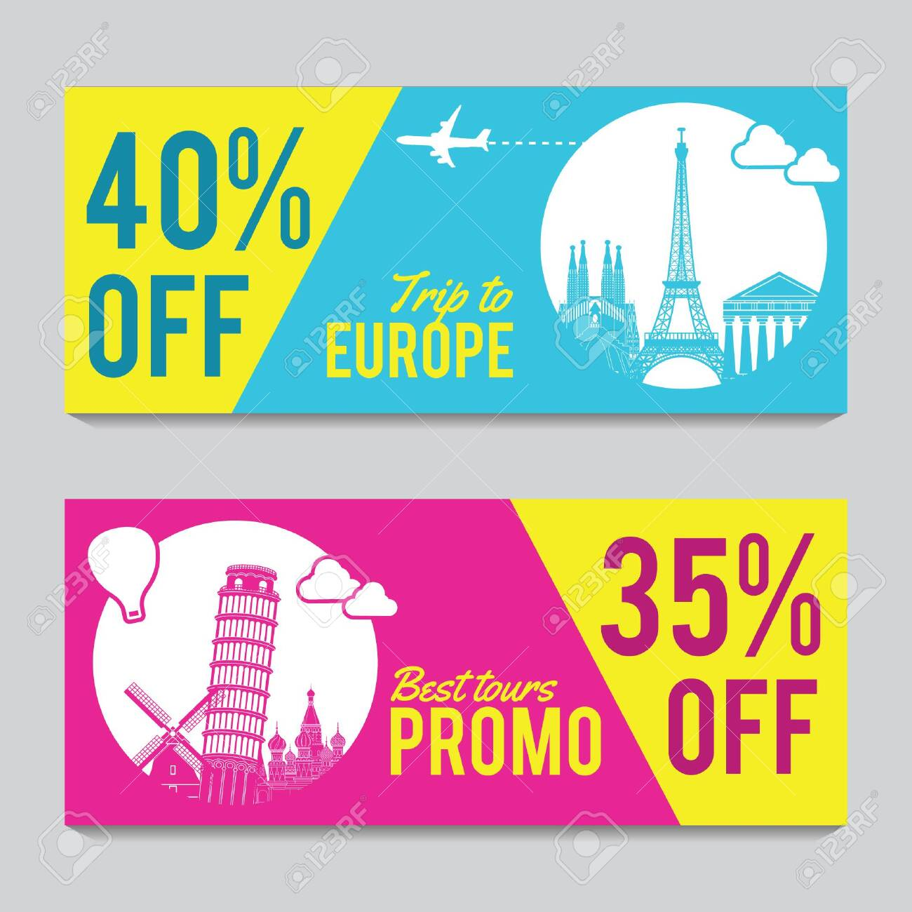Bright and colorful promotion banner with pink and blue color for Europe travel,silhouette art design,vector illustration - 121721516