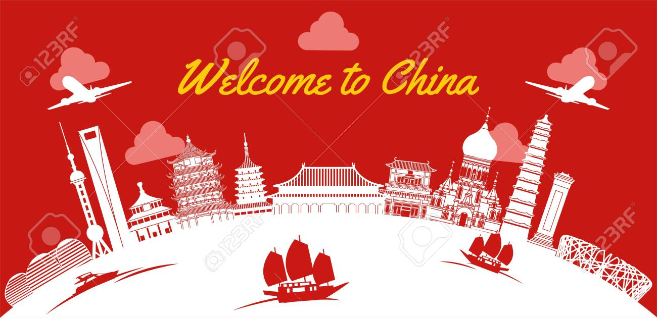 China famous landmark silhouette style on white curve,vector illustration - 139281542