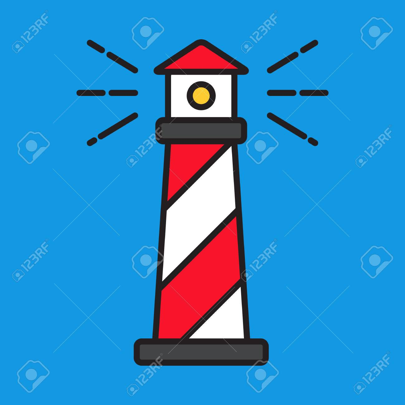 simple line red lighthouse flat vector style royalty free cliparts rh 123rf com Lighthouse Clip Art Collections Lighthouse Clip Art Collections