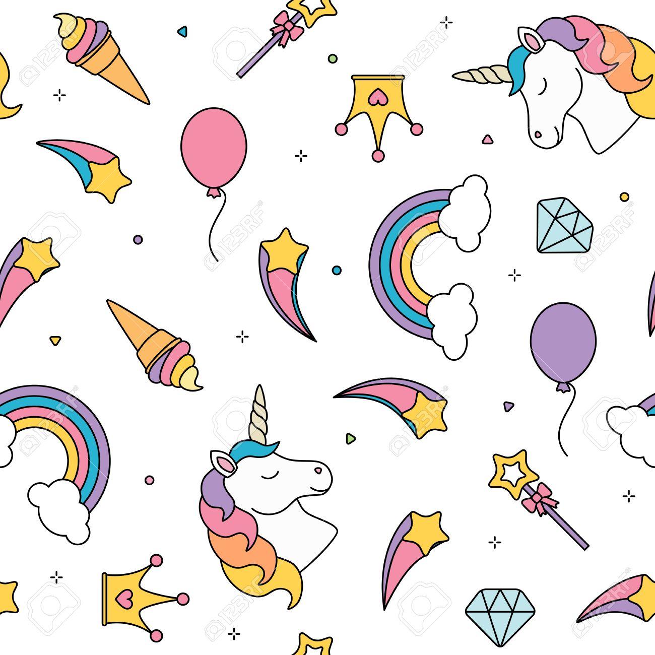 Immagini Stock Unicorno E Arcobaleno Senza Soluzione Di Continuità