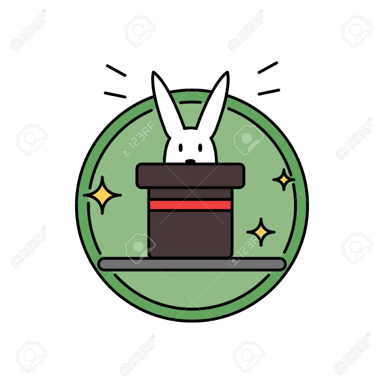Rabbit inside magician hat, funny magic trick concept circle
