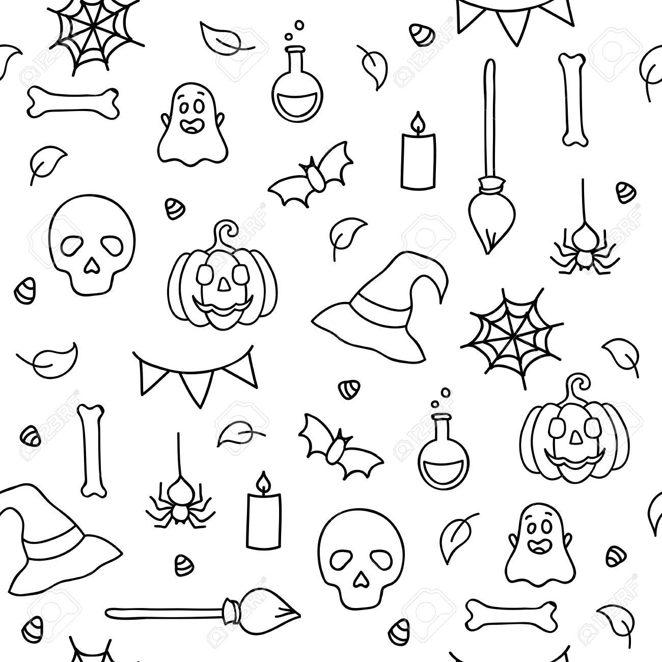 Patrón Sin Costuras De Halloween Para Niños Para Colorear Doodle