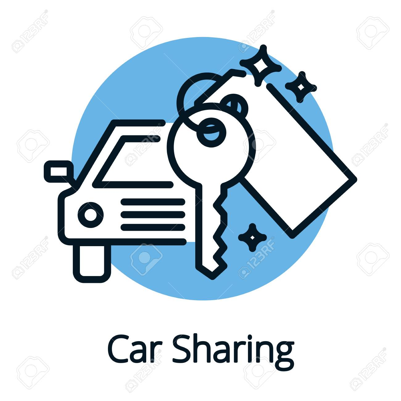 Vehicle Or Car Sharing Share Economy Concept Outline Design Royalty