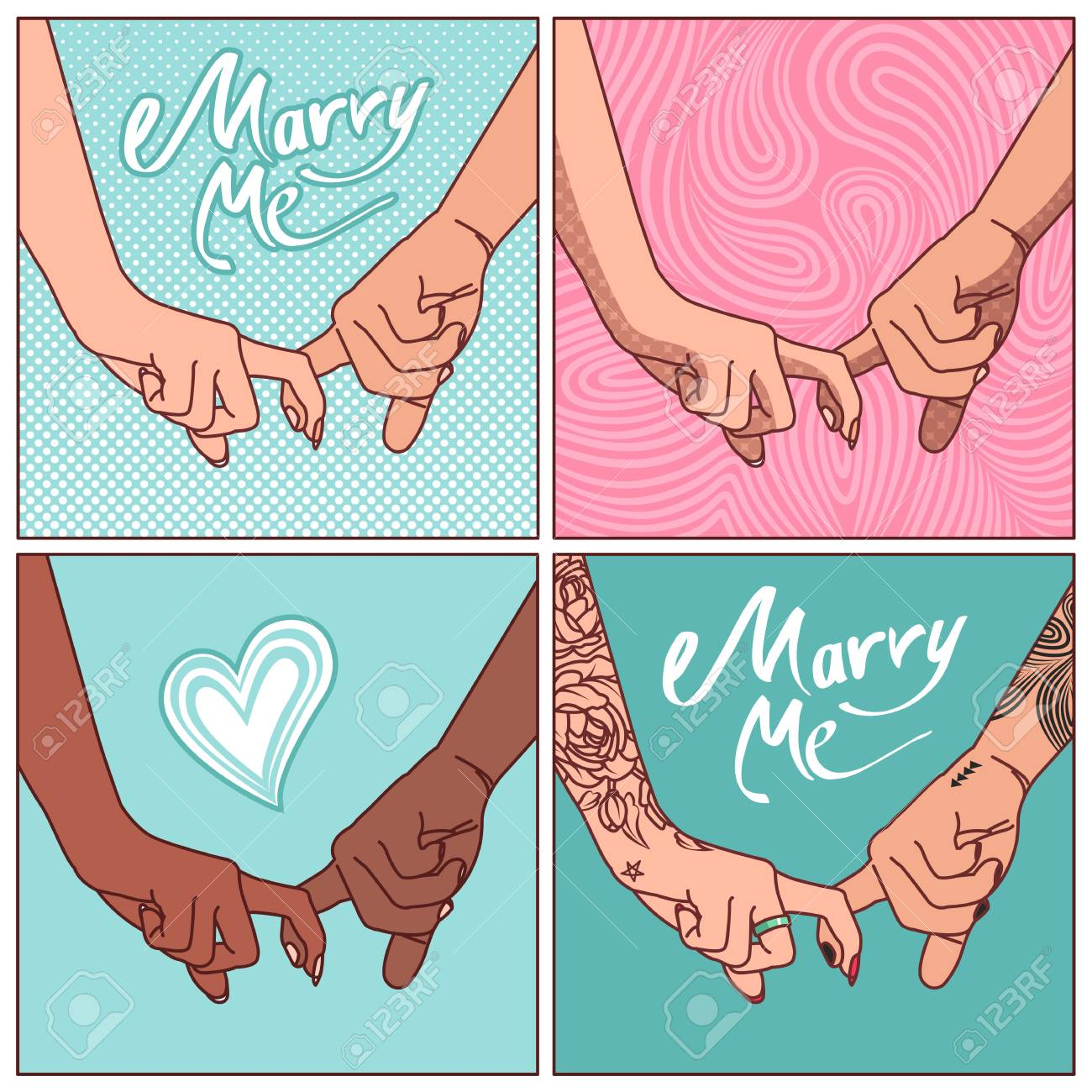 A Set Of Linked Hands With His Index Fingers Young Couples In Royalty Free Cliparts Vectors And Stock Illustration Image 101967297