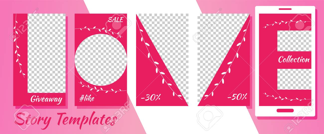 A set of minimalist social media story templates. Frame. Package to create your unique content. Templates for stories. Summer pattern. Pattern love. Pink colors - 120584501