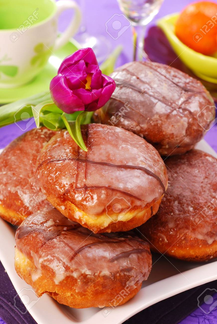 donuts with icing for party Stock Photo - 6261255