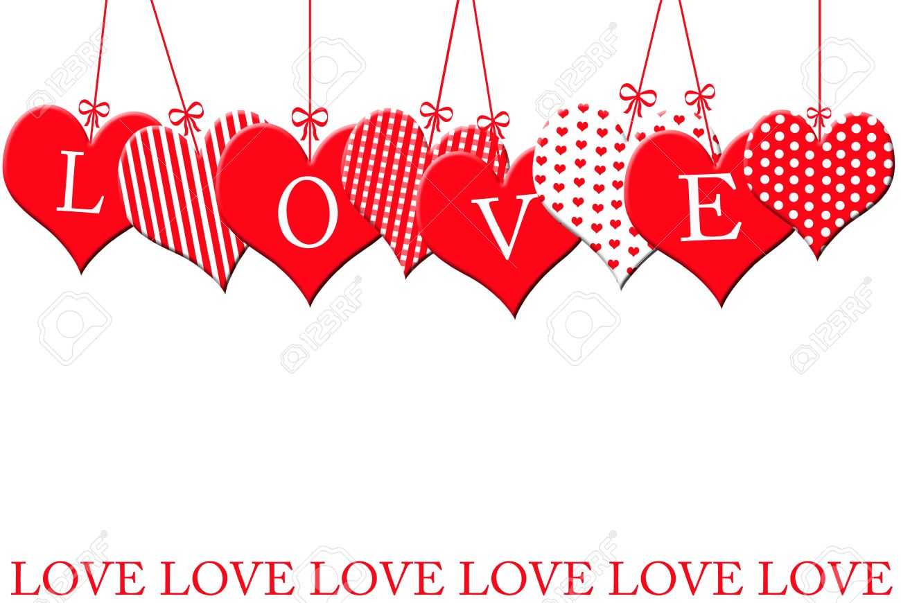 valentine s border with hearts hanging at the top isolated on