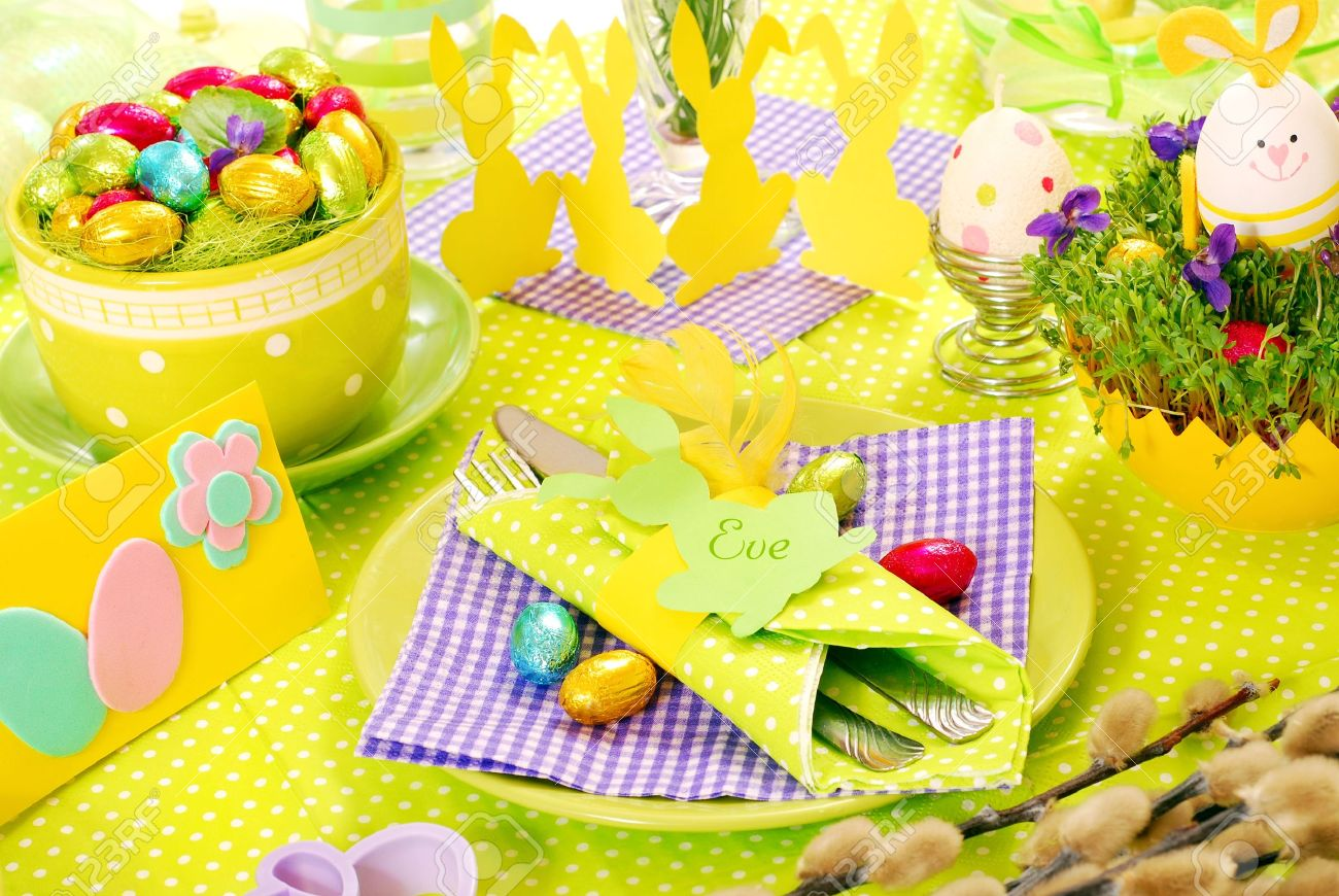 Easter Table Decoration In Green Violet And Yellow Colors Stock