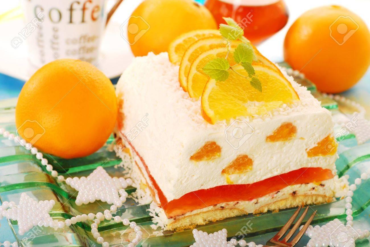 Kokos Kase Kuchen Mit Orangen Und Gelee Schicht Fur Die