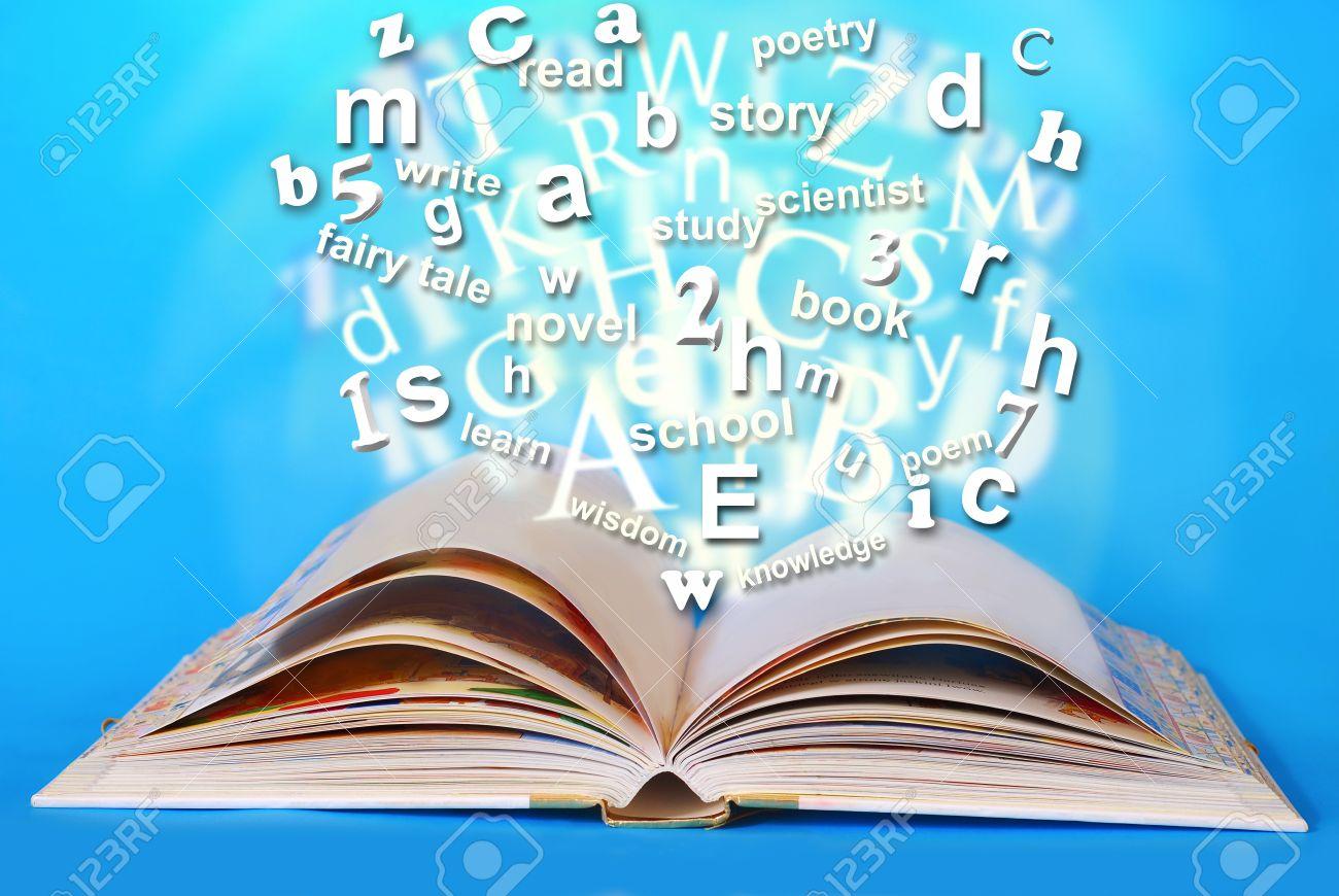 Magie Livre Ouvert Avec Des Mots élogieux Et Les Lettres Qui ...