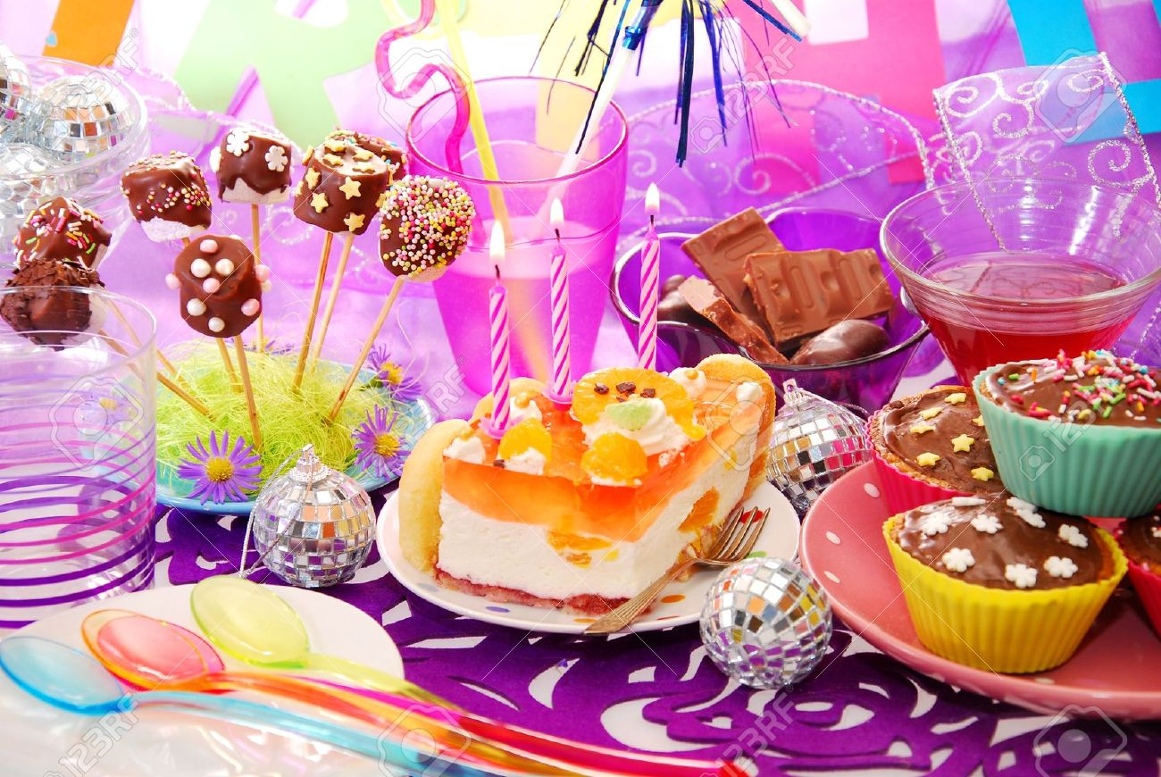 colorful decoration of birthday party table with cake and sweets for child Stock Photo - 15821931