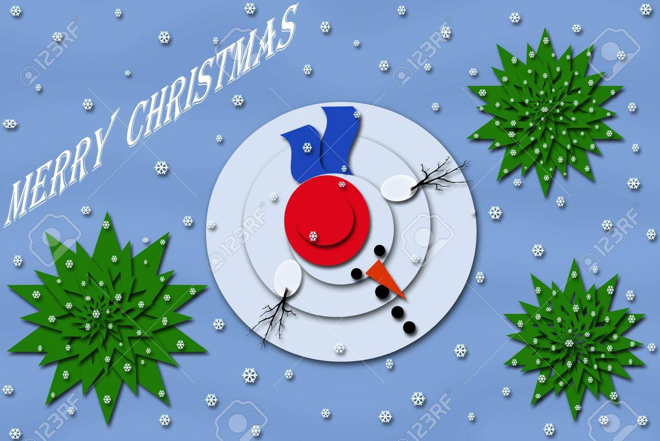 christmas card design with snowman and trees (view from the top) Stock Photo - 16462049