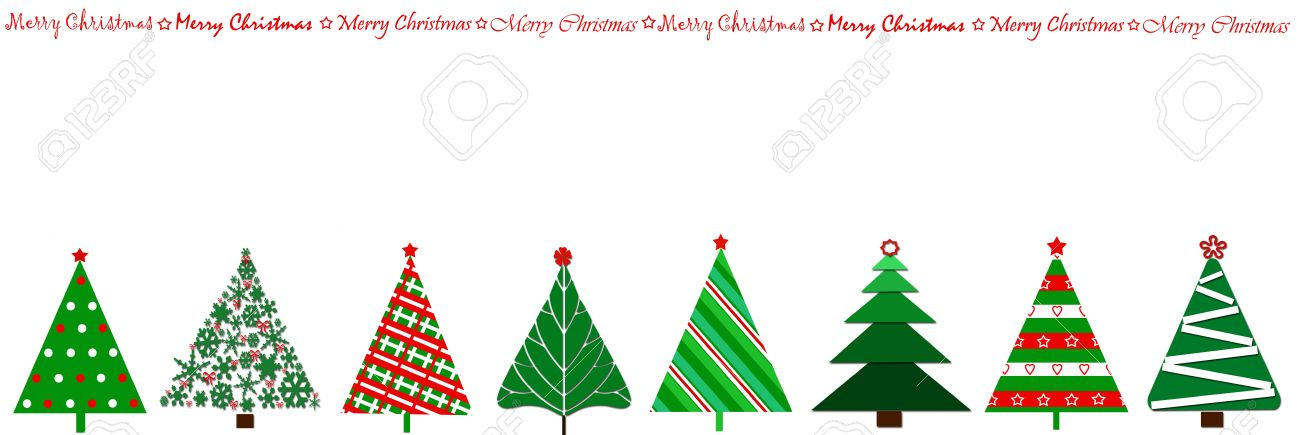 Border Design With Row Of Christmas Trees In Various Stylization ...