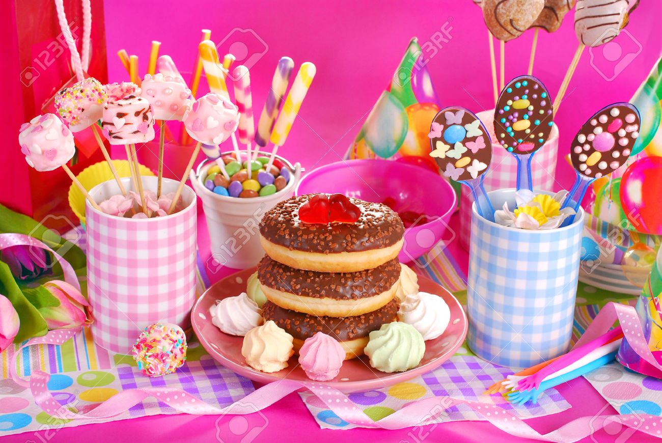 Colorful Birthday Party Table With Flowersgift And Homemade Stock