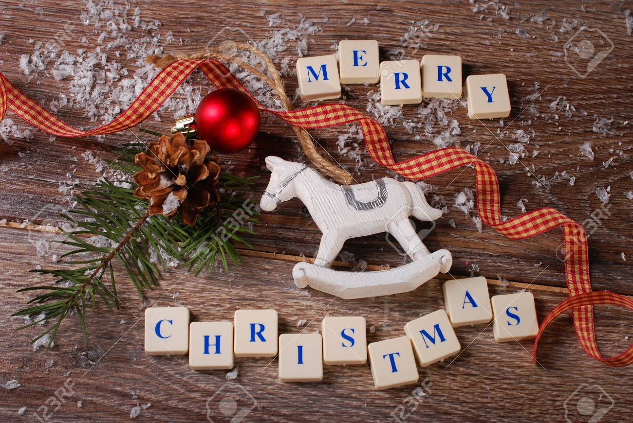 Carte De Noël Avec Des Salutations En Cubes De Lettres Avec