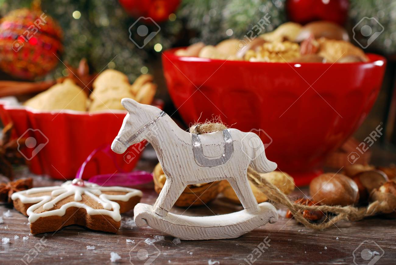 Christmas Table With Wooden Retro Rocking Horse Toy And Bowls Stock Photo Picture And Royalty Free Image Image 34365815