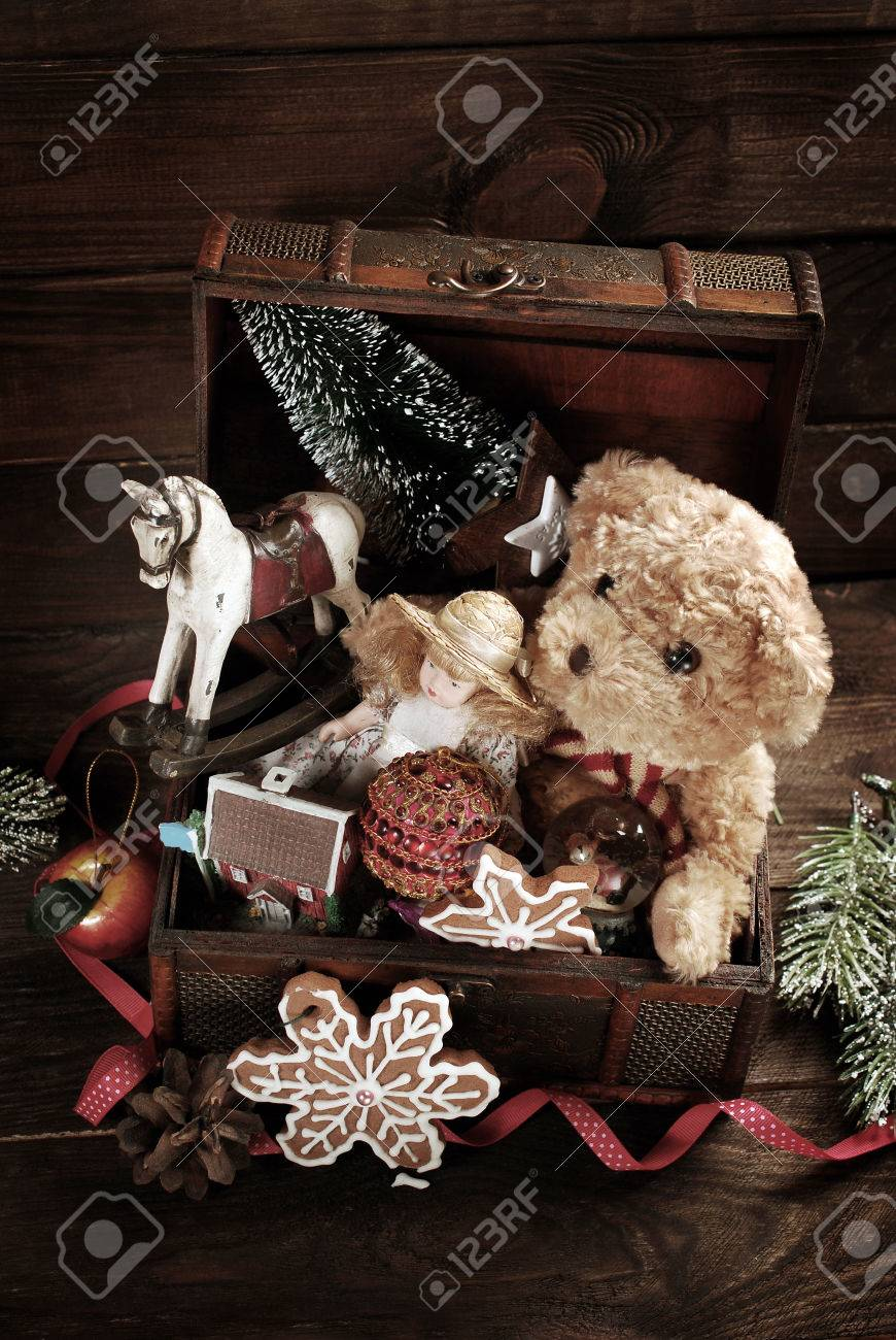 Vintage Christmas Toys Like Doll Teddy Bear Rocking Horse And Stock Photo Picture And Royalty Free Image Image 49155237