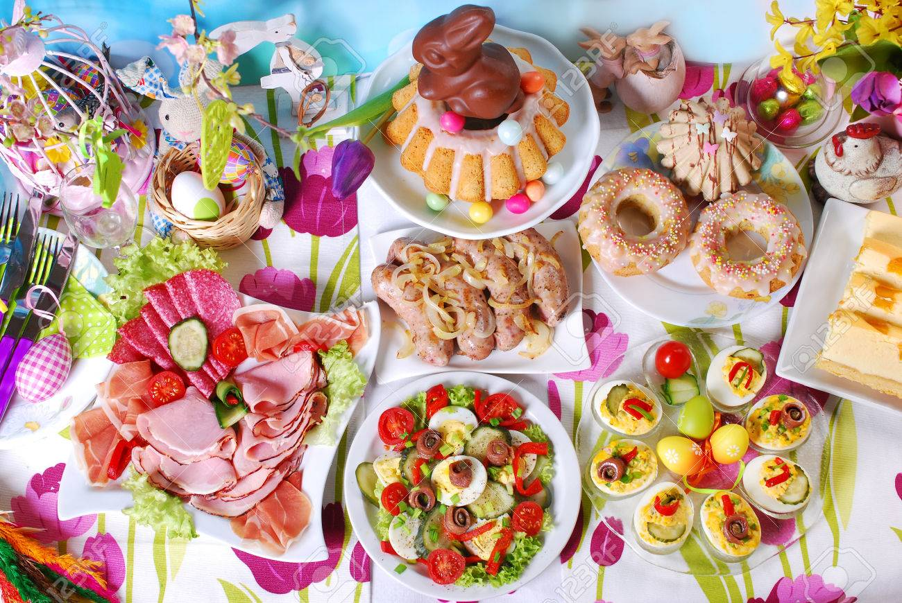 traditional in Poland easter breakfast on festive table - 51399561