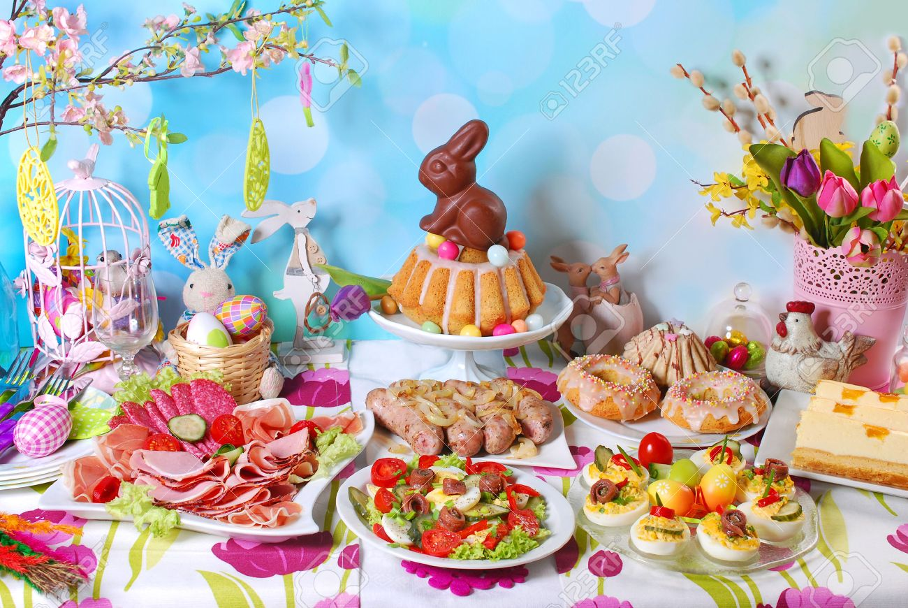 traditional in Poland easter breakfast on festive table - 51399567