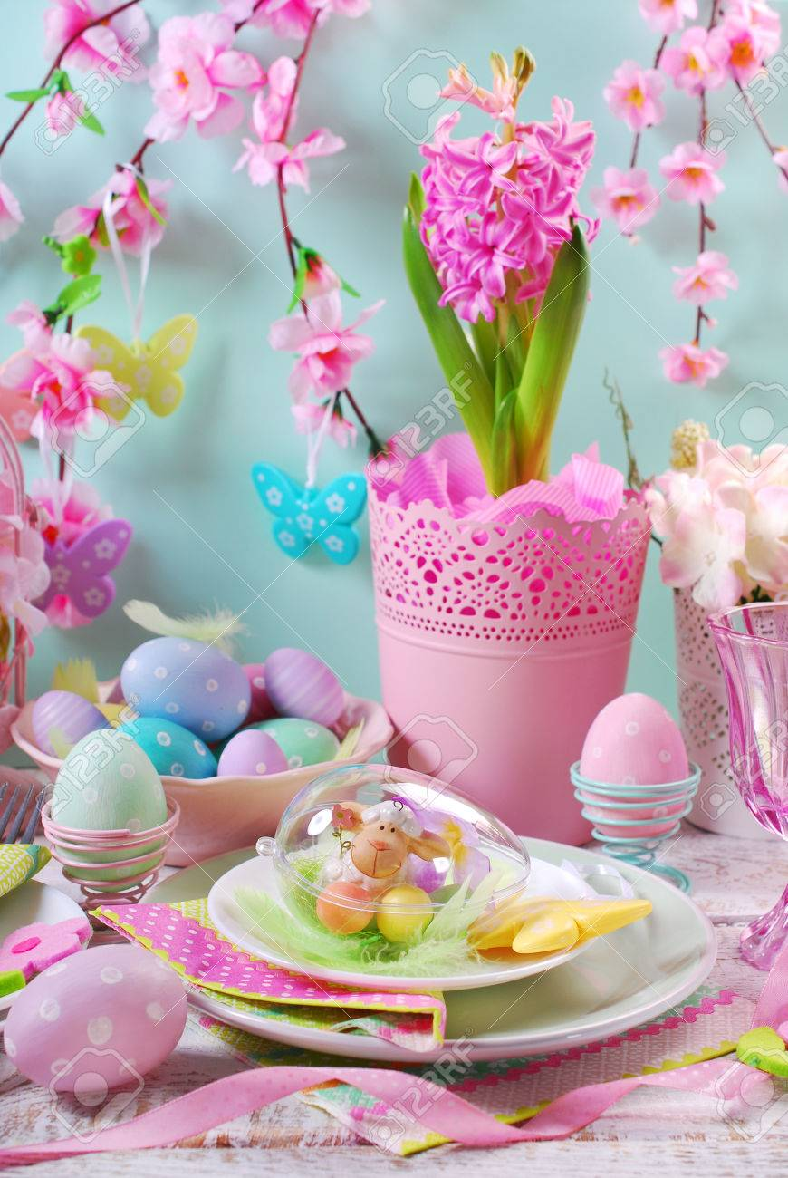 Beautiful Easter Table Decoration With Painted Eggs And Spring