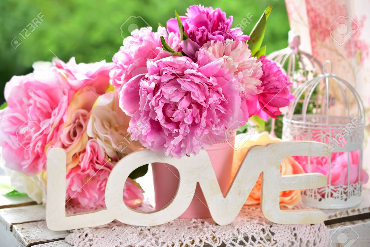 Beautiful Love Decoration With Wooden Letters And Peony Flowers