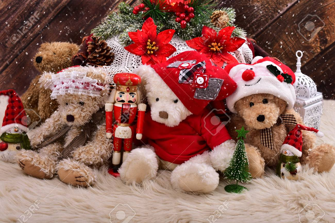 Christmas Bear.Christmas Teddy Bears In Santa Claus Outfits With Decorations