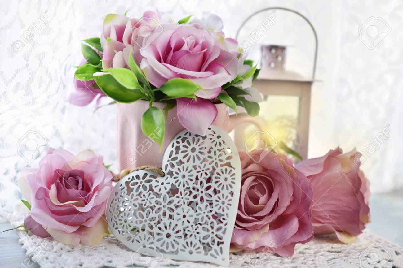romantic decoration with hearts,roses and lanterns in shabby chic style for wedding or valentine`s day - 93533009