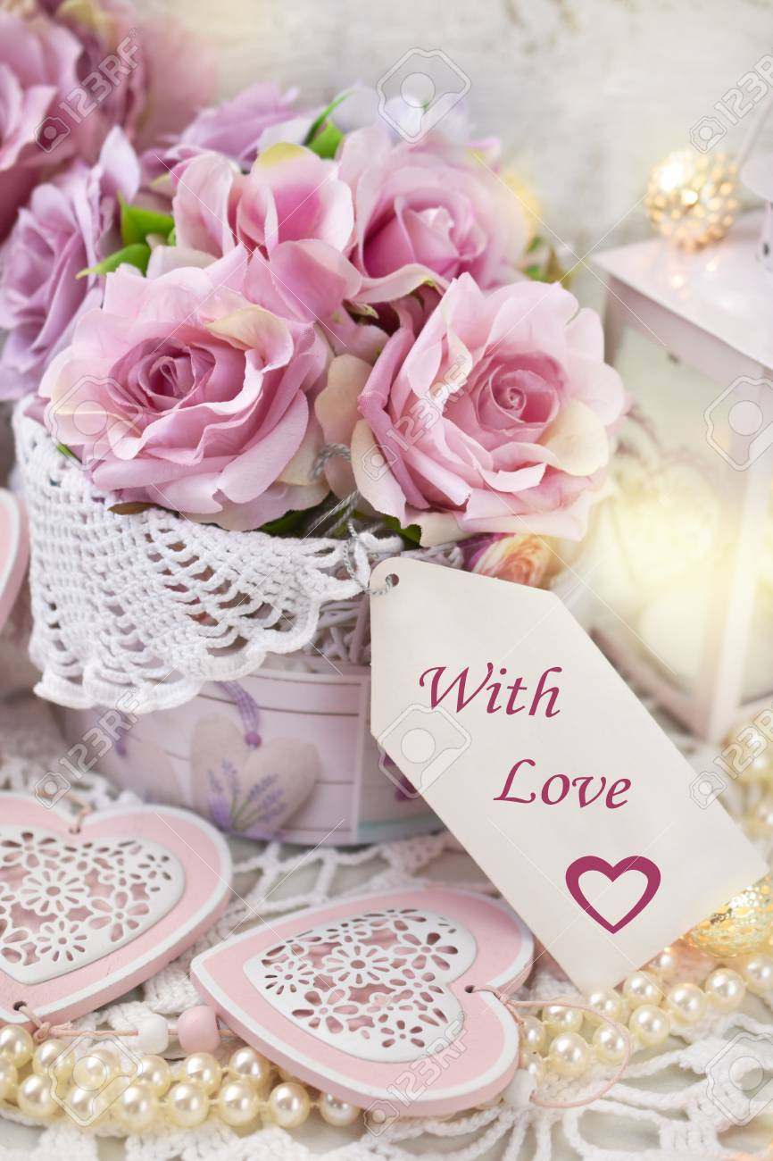 Romantic Love Decoration With Paper Label, Hearts,roses And Lanterns ...