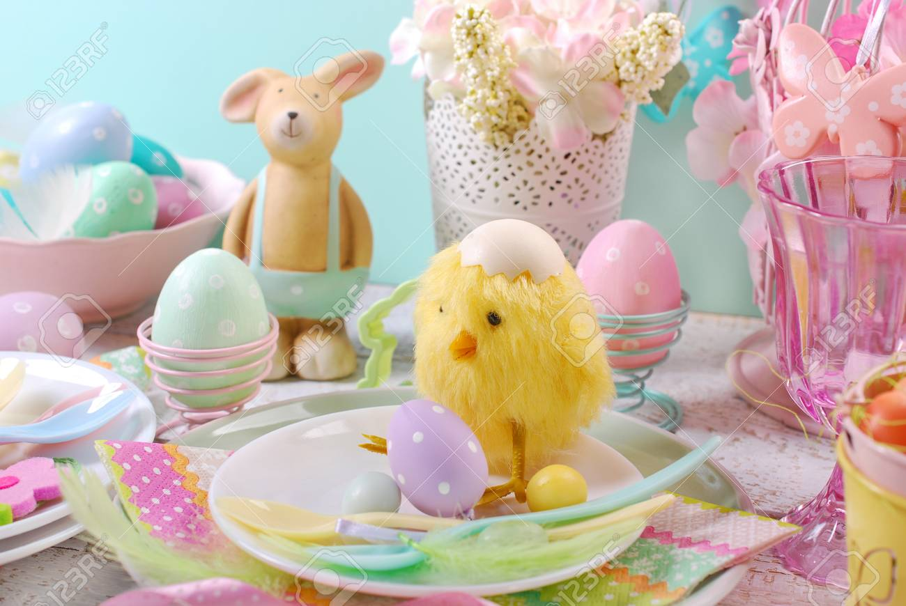 Easter Table Setting For Kids With Decorations In Pastel Colors ...