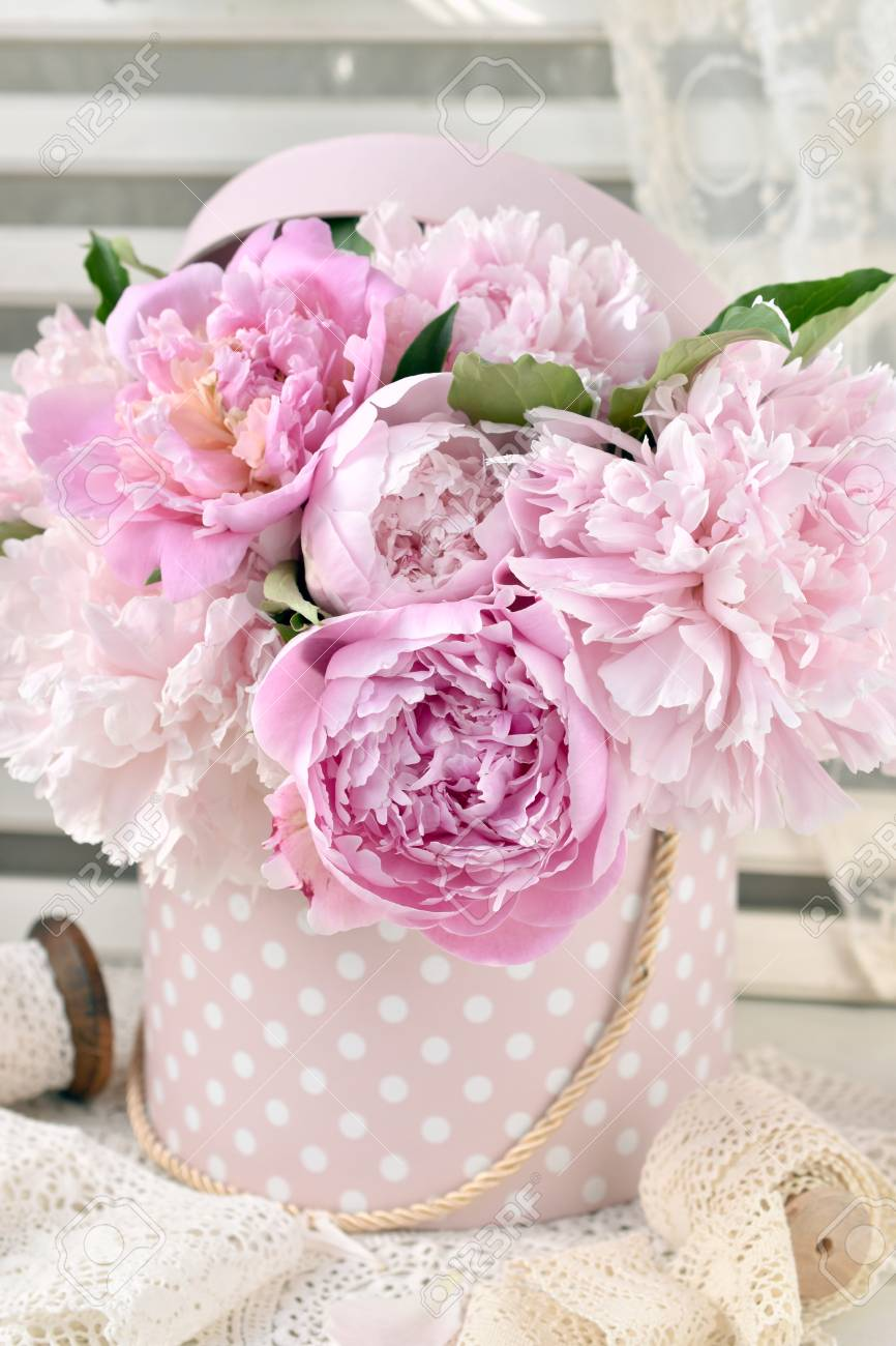 Bunch Of Pink Peony Flowers In Dotted Box In Shabby Chic Style Stock Photo Picture And Royalty Free Image Image 106748375