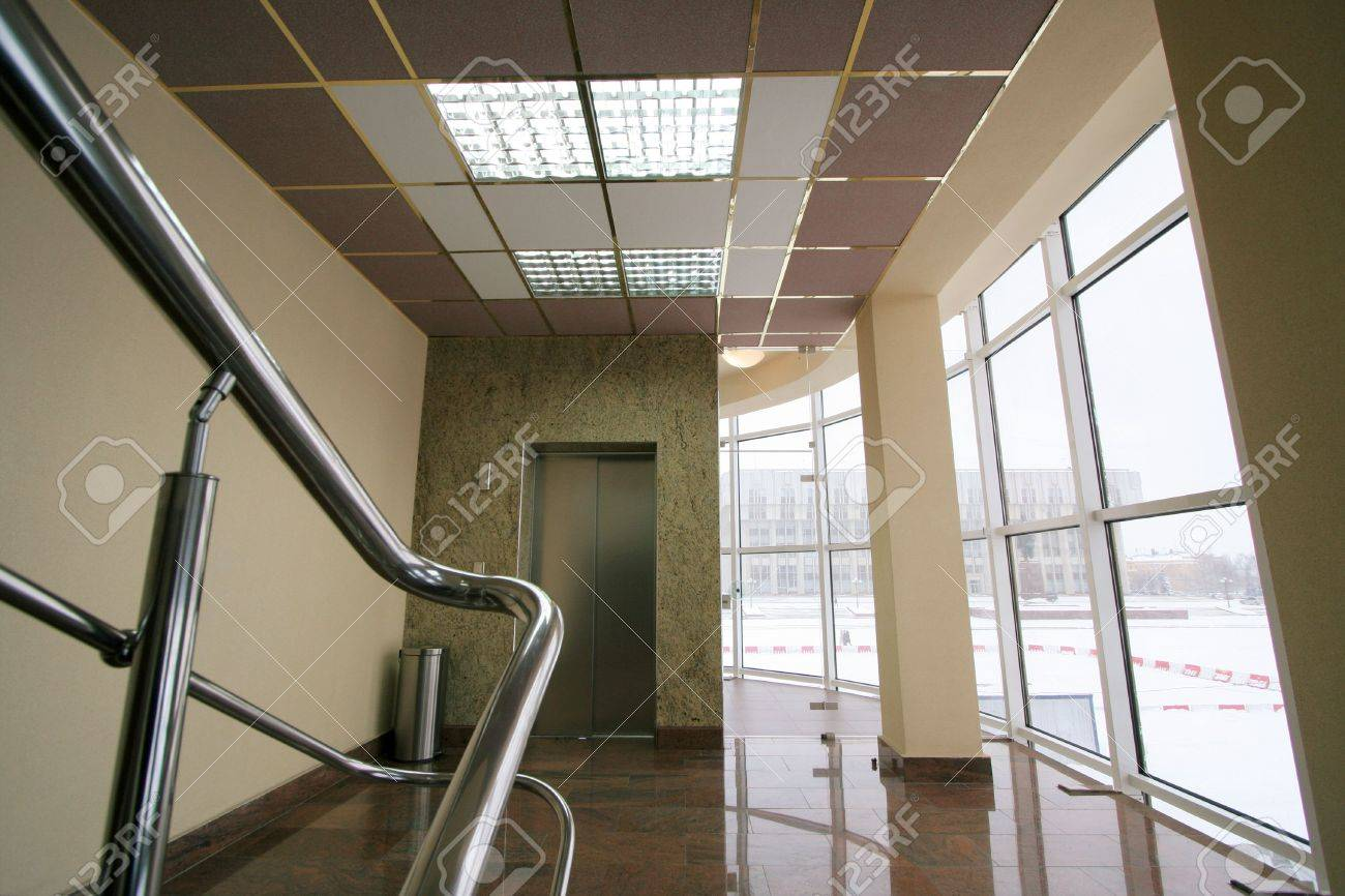 The lift and the big window in modern hotel Stock Photo - 759156