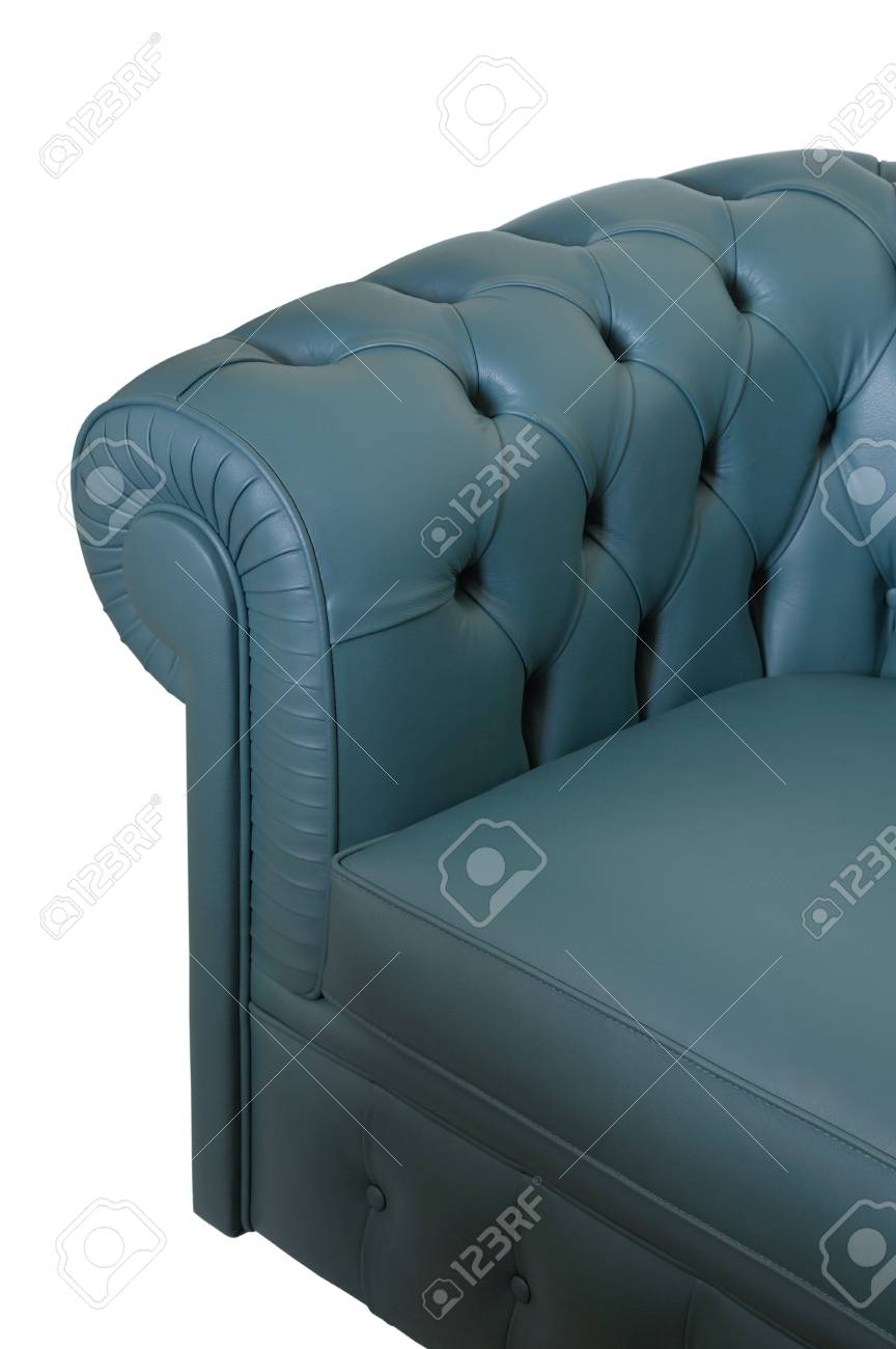 Dark blue leather sofa on a white background