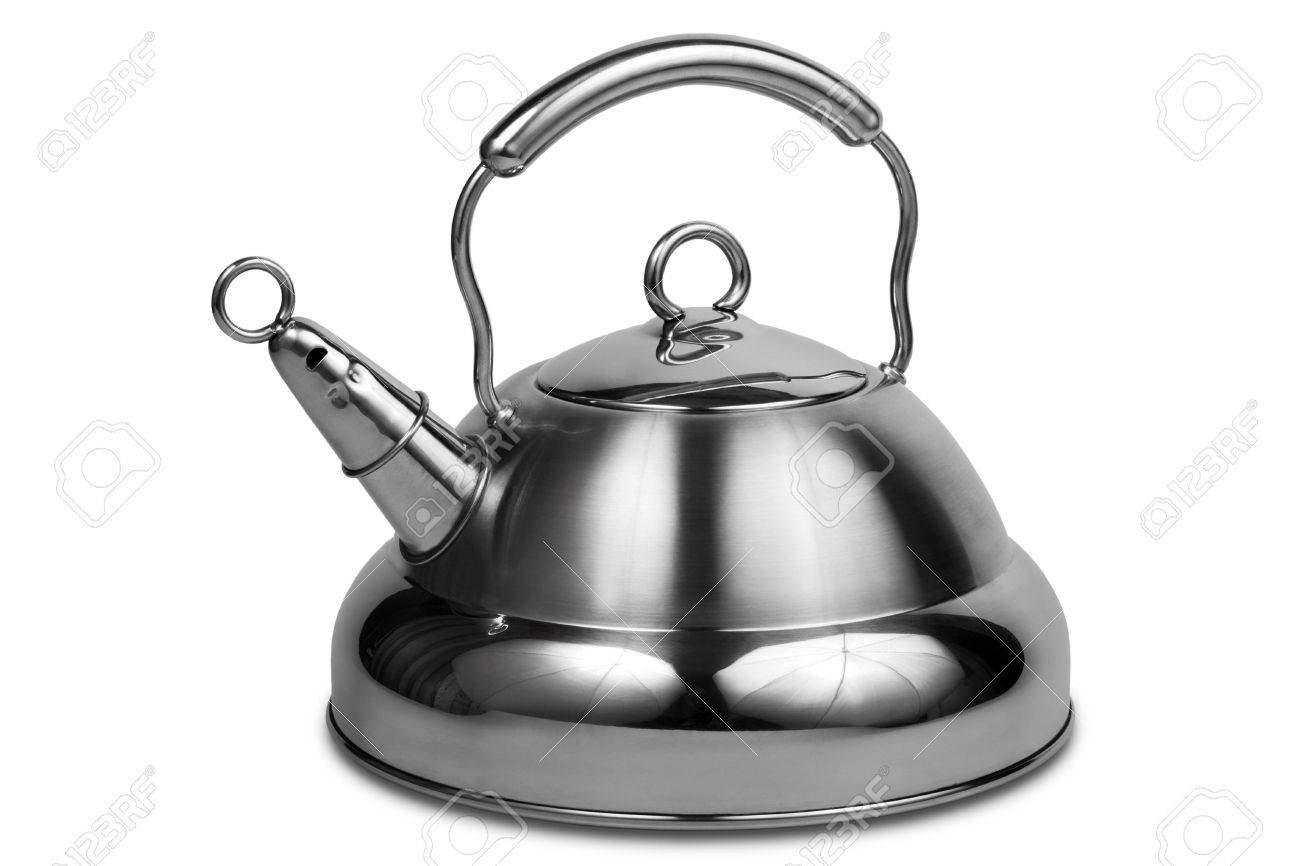 Modern metal teapot on a white background Stock Photo - 3072972