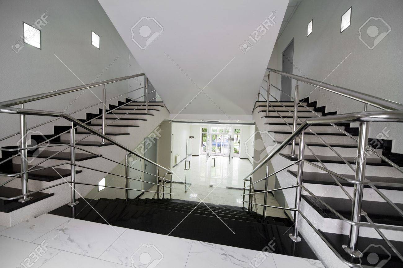 Glass doors with a kind on a marble staircase Stock Photo - 3114967