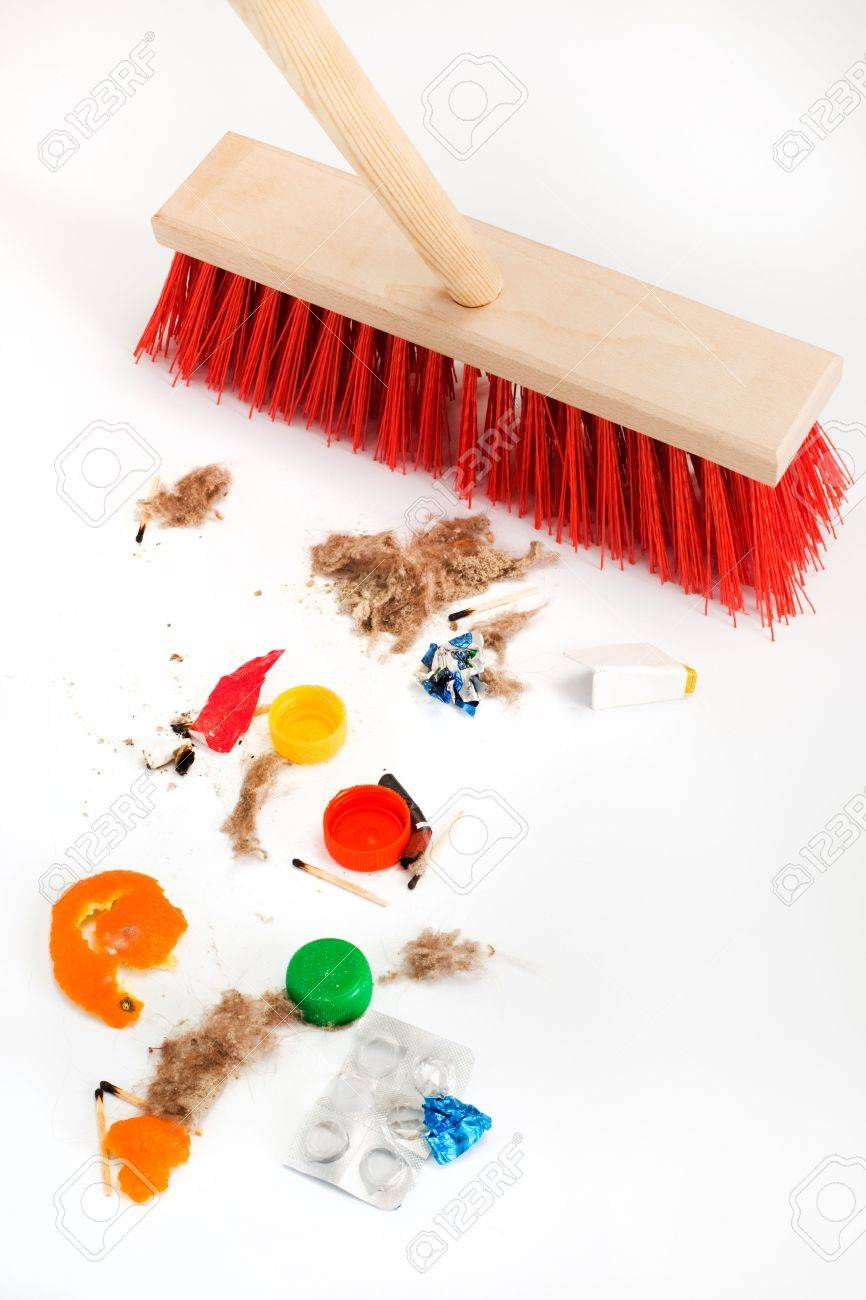 Cleaning the modern red mop mixed trash Stock Photo - 4950105